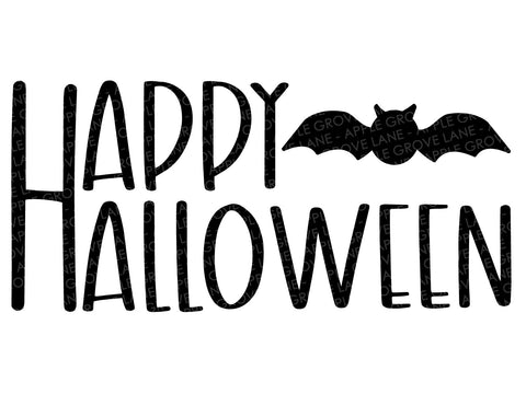Happy Halloween Svg - Fall Svg - Halloween Svg - Bat Svg - Halloween Bat Svg - Halloween Sign Svg - Svg Eps Png Dxf