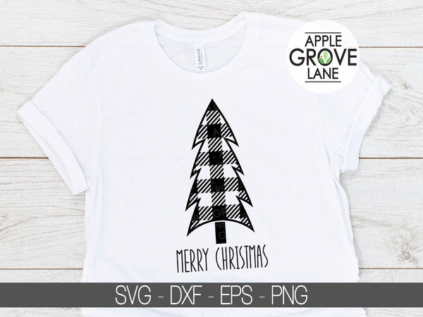 Buffalo Plaid Tree Svg -  Merry Christmas Svg - Tree SVG - Buffalo Check Tree Svg - Christmas Svg - Christmas Tree Svg - Svg Eps Png Dxf