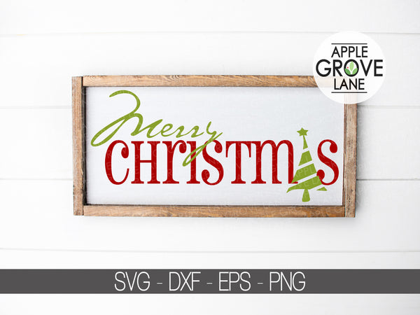 Merry Christmas Svg - Christmas Svg - Christmas Tree Svg - Merry Christmas Clip Art - Christmas Clipart - Svg Eps Dxf Png
