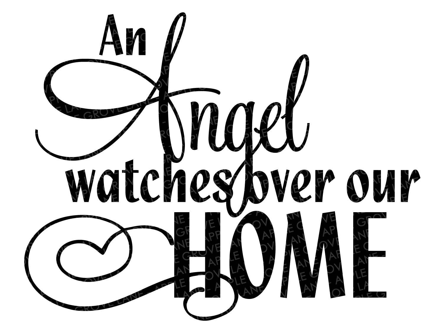 Angel Watches Over SVG - Angel Svg - Over Our Home Svg - Death Svg - Loss Svg - Memorial Svg - Funeral Svg - Angel Home Svg Eps Png Dxf