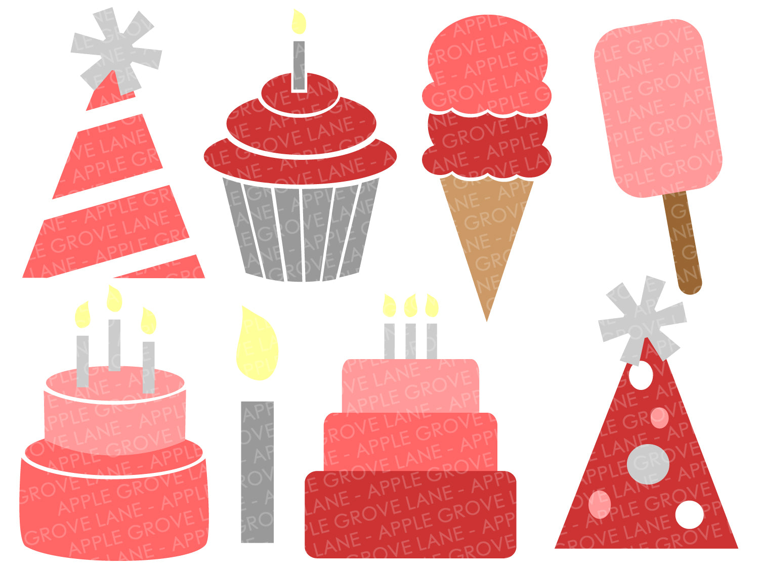 Birthday Party SVG Bundle - Pink Birthday Svg - Ice Cream SVG - Birthday Cake Svg - Cupcake SVG - Party Hat Svg - Svg Eps Dxf Png