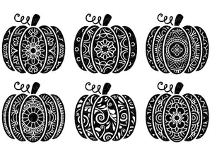 Mandala Pumpkin Svg Bundle - Pumpkin SVG - Swirly Pumpkin Svg - Halloween Svg - Patterned Pumpkin Clip Art - Fall SVG - Svg Eps Png Dxf