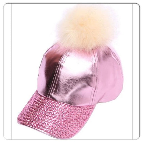 Pink or Black Studded Stone Pom Pom Hats - callielives