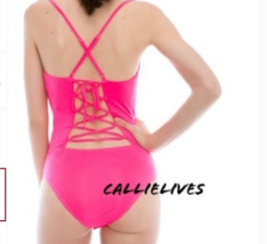 Callie White: Cowlneck Cami Laced Back Bodysuit