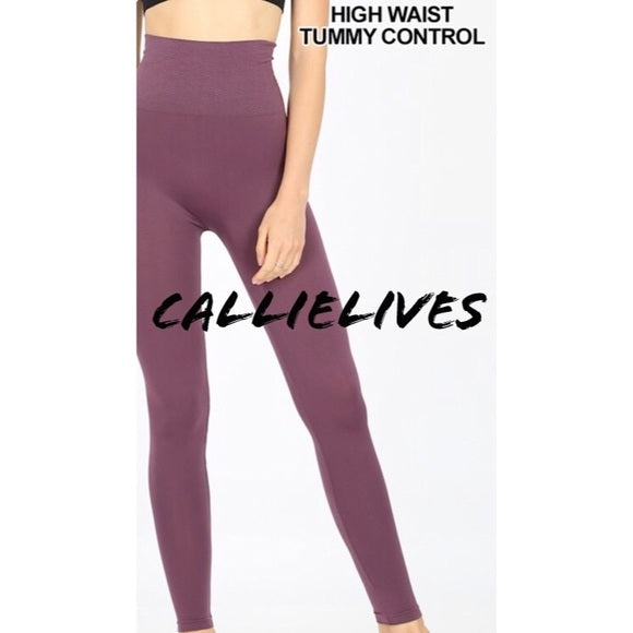 Miz TUMMY-CONTROL: Mauve HIGH WAIST Nylon Leggings