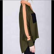Load image into Gallery viewer, Elaine Go Hi-Low: Buttonless Sheer Olive Army Green Color Block Blouse - callielives