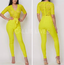 Load image into Gallery viewer, Callie Chartreuse Lace Onesie Belted Pant Jumpsuit, Rompers and Catsuits, CallieLives
