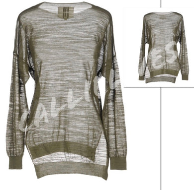 ORA: Sheer Long Sleeve Lightweight Army Green Sweater