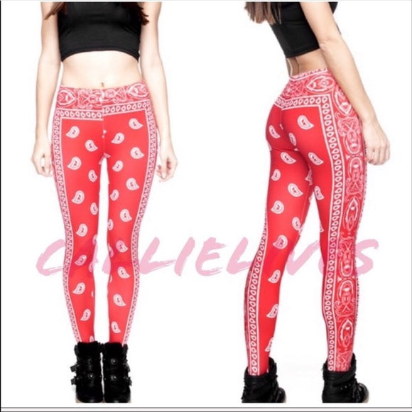 Miz Bandana: Red Print 3D Digital Graphic Leggings