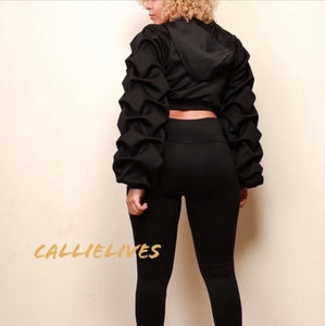 Callie Pleated Sleeves Please: Black Puffy 2Pc Set, Sets, CallieLives