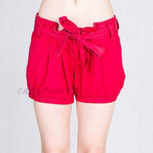 Load image into Gallery viewer, Stasia cuffed: Red Twill Pleated Sailor Shorts