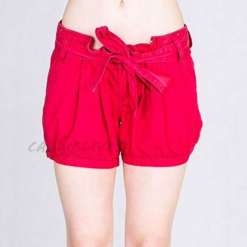 Stasia cuffed: Red Twill Pleated Sailor Shorts