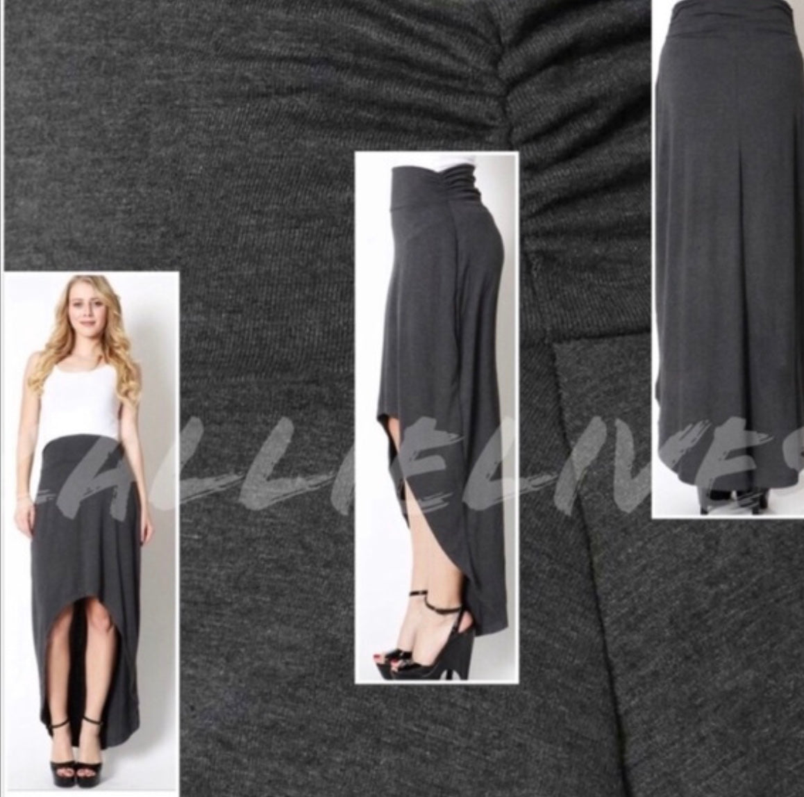 Elaine Hi-Lo Scrunch: Comfy Gray Casual Maxi SKIRT