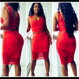 Xena Hot Tamale: Red Mesh Bandage Crop Top Skirt Set - callielives