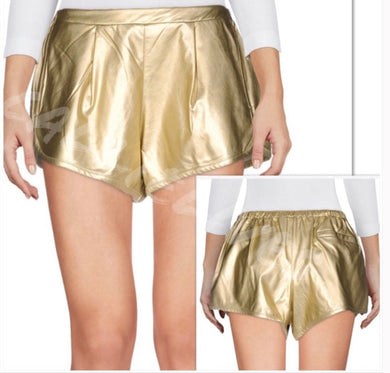 Callie Maison 9 Paris: Gold Vegan Leather Shorts