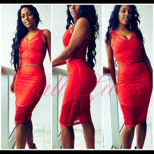 Hot Tamale: Wow Couture Red Mesh Bandage Crop Top Skirt Set