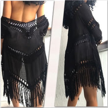Load image into Gallery viewer, Black Fringe Duster Crochet Swim CoverUp