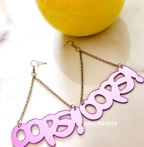 Stasia OOPS Pink Tinted Mirrored Acrylic Art Hook Earrings