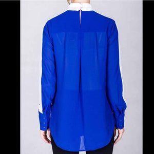 Hi-Low Buttonless Royal Blue Color Block Blouse