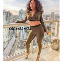 Load image into Gallery viewer, Xena Black Gold Metallic Striped Cropped Pant Set, Sets, CallieLives