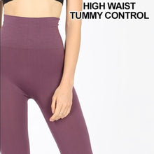 Load image into Gallery viewer, Miz TUMMY-CONTROL: Mauve HIGH WAIST Nylon Leggings