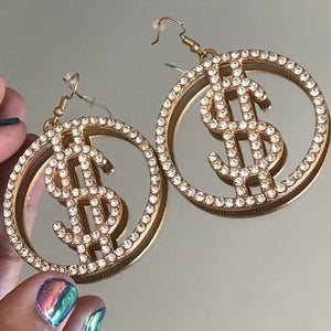 Miz Money Maker: Dollar Sign Bling Rhinestone Earrings - callielives