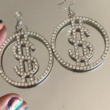 Load image into Gallery viewer, Dollar Sign Bling Rhinestone Earrings