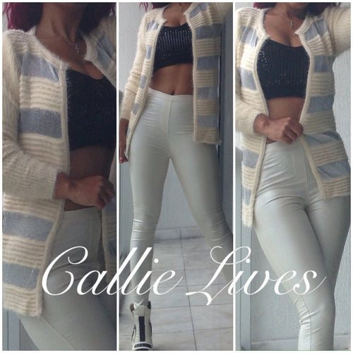 Callie Silver Winter: Mesh Cardigan Blazer - callielives