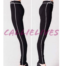 Load image into Gallery viewer, Callie Ponte: Black Skinny Pants White Piping