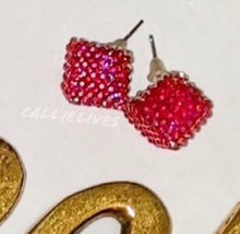 Load image into Gallery viewer, Callie Apple Red Bling Square Sparkling Stud Earrings