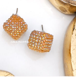 Callie Pineapple Gold Bling Square Sparkling Stud Earrings, Jewelry, CallieLives