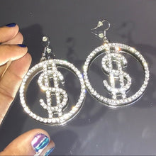 Load image into Gallery viewer, Miz Money Maker: Dollar Sign Bling Rhinestone Earrings - callielives