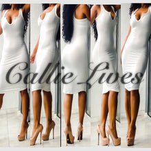 Load image into Gallery viewer, V-Neck Midi Dress Black or Ivory - callielives