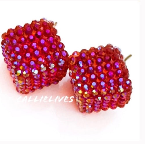 Callie Apple Red Bling Square Sparkling Stud Earrings