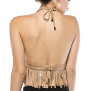 Give me Grommets: Black Fringe Halter Crop Top