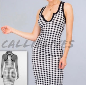 Callie Gingham: Black & White Bodycon Midi Dress