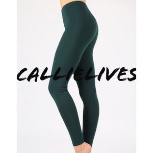Miz Hunter: Green Cotton LEGGINGS, Leggings & Joggers, CallieLives