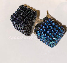 Load image into Gallery viewer, Callie Navy Blue Bling Square Sparkling Stud Earrings