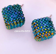Load image into Gallery viewer, Callie Peacock Teal Blue Bling Sparkling Stud Earrings, Jewelry, CallieLives