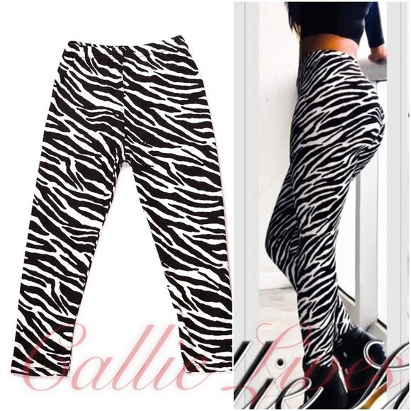 Ta-Ta Wild Zebra & Paisley Mini Me Kids Leggings - callielives