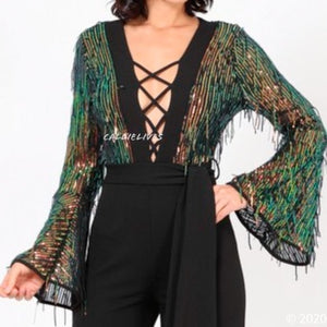 Callie Fringe Sequin Criss Cross Plunging Jumpsuit, Rompers and Catsuits, CallieLives
