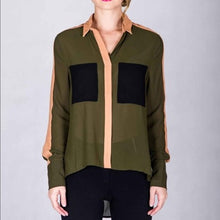 Load image into Gallery viewer, Hi-Low Buttonless Sheer Natural Color Block Blouse