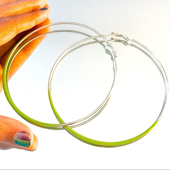 Hoop It Up: Extra Large Silver Acrylic Artsy Earrings