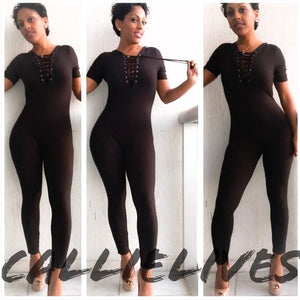 Cat Napping: Laced V-Neck Catsuit Jumpsuit Onesie