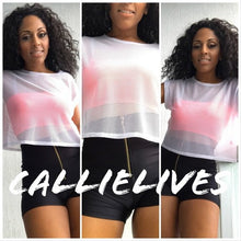 Load image into Gallery viewer, Stasia All Net: Mesh Crew Neck Cropped T-shirt - callielives