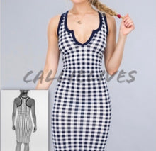 Load image into Gallery viewer, Callie Gingham Style: Navy Blue Bodycon Midi Dress