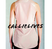 Load image into Gallery viewer, Elaine Le Fleur: Gold Foil Sheer Pink Hi-Lo Blouse