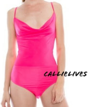 Load image into Gallery viewer, Stasia Pink: Cowlneck Cami Laced Back Bodysuit
