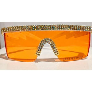 Miz Future: Orange Visor Lens Bling Rhinestone Sunglasses, Accessories, CallieLives