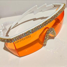 Load image into Gallery viewer, Miz Future: Orange Visor Lens Bling Rhinestone Sunglasses, Accessories, CallieLives